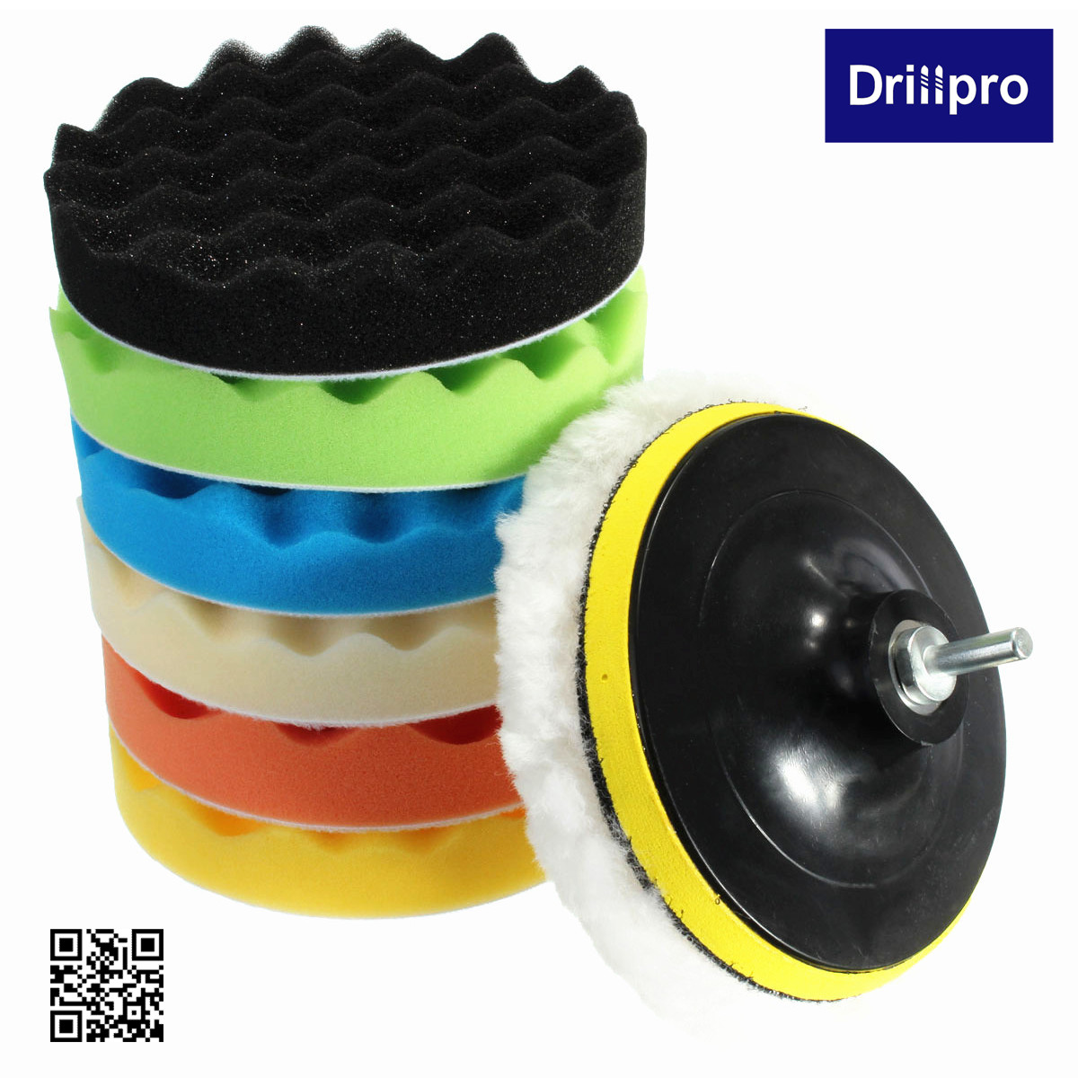 8PCS 6'' Auto Car Compound Sponge Polishing Waxing Buffing Pads Set Kit with Drill Adapter