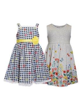 Blueberi Boulevard Toddler Girls Checked Floral Woven Sundress & Knit Floral Dress, 2-Pack