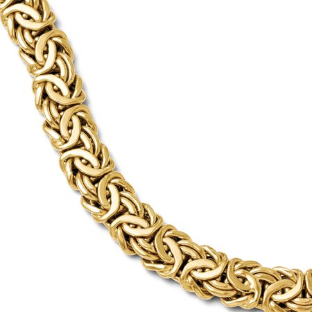 - Italian 12mm Byzantine Chain Bracelet in 14k Yellow Gold, 7.5 Inch