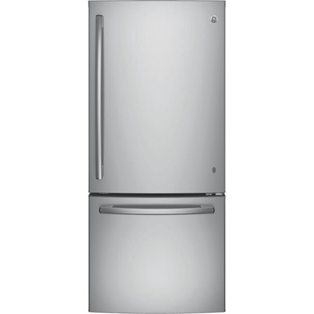 Gbe21dskss Energy Star Qualified Bottom Freezer Refrigerator With 20 9 Cu  Ft  Capacity  Adjustable Glass Shelves  2 Clear Drawers And Led Lighting In Stainless Steel
