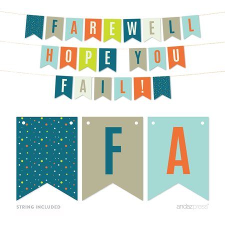 Funny Farewell Retirement Party Decorations, We Hope You Fail, Hanging Pennant Paper Banner with String, - Retirement Party Banners