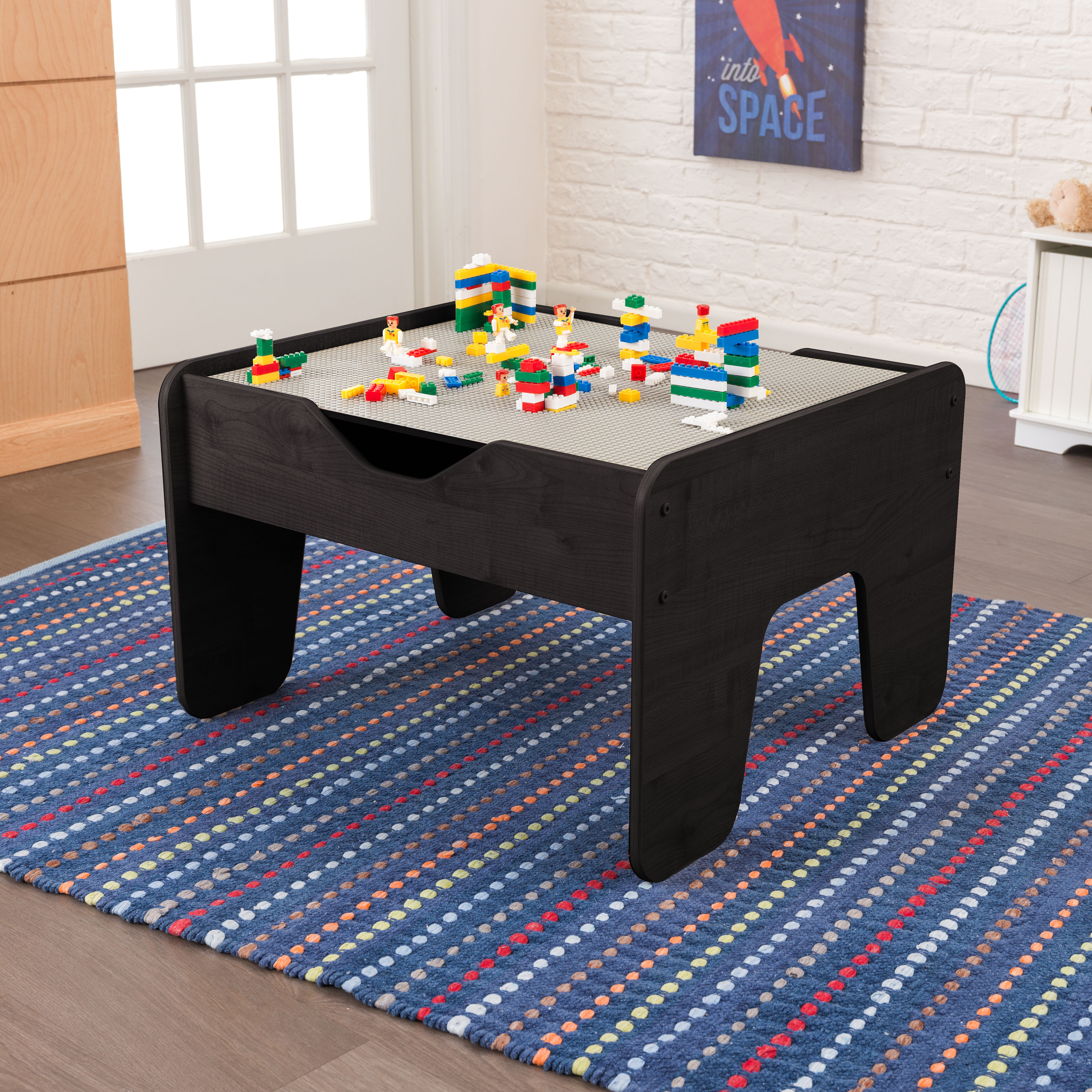 KidKraft Activity Table with Board - Gray & Espresso
