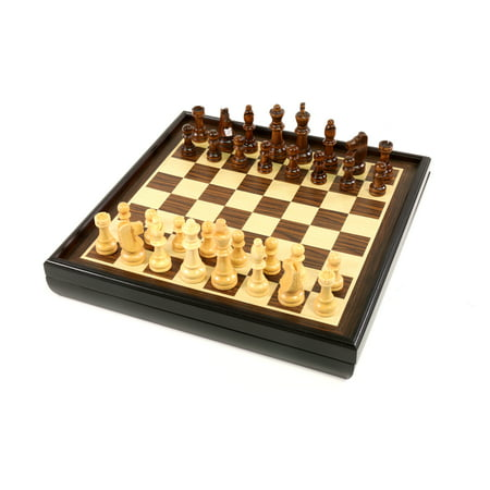Craftsman Natural Wood Veneer Deluxe Chess Set