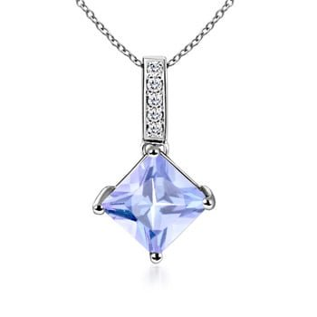 Mother's Day Jewelry - Square Tanzanite Solitaire Pendant with Diamond Bale in 14K White Gold (5mm Tanzanite) - SP0106T-WG-A-5 Diamond 14k Square Pendant