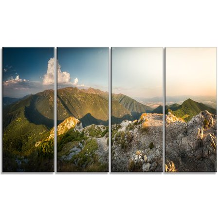 Design Art 'Rocky Green Mountains Panorama' 4 Piece Photographic Print on Wrapped Canvas - Mountain 4 Light