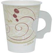 SOLO Cup Company Hot Cups, w/Paper Handle, Symphony Design, 8oz, Beige, 1000/Carton