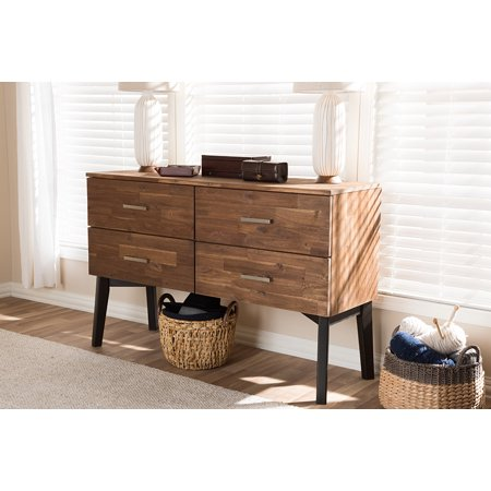 Baxton Studio Selena Mid-Century Modern Brown Wood 4-Drawer Dresser