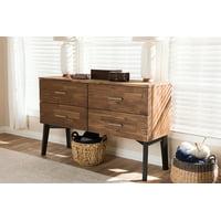 Baxton Studio Selena Mid-Century Modern Brown Wood 4-Drawer Dresser