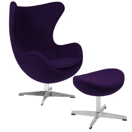 - Flash Furniture Purple Wool Fabric Egg Chair with Tilt-Lock Mechanism and Ottoman