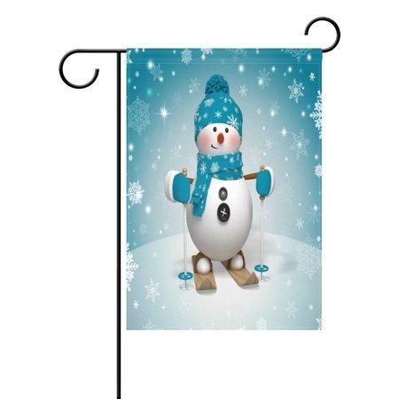 POPCreation Cartoon Skiing Snowman Garden Flag Winter Snowflake Christmas Outdoor Flag Home Party 28x40 inches ()
