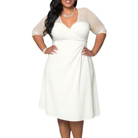 - made2envy Sweetheart Neckline Faux Wrap Mesh Sleeves Dress