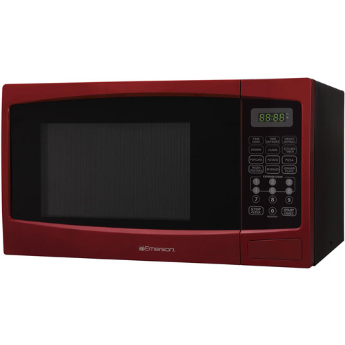 Emerson 0.9 cu ft Microwave Oven, Red, Refurbished