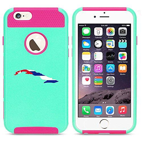 Apple iPhone SE Shockproof Impact Hard Soft Case Cover Cuba Cuban Flag (Light Blue-Hot Pink),MIP