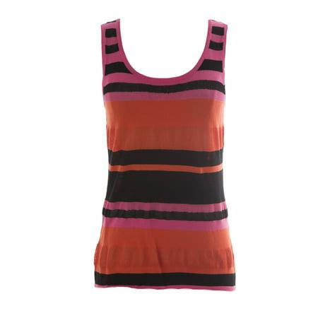 100% Silk Top (August Silk Women's Orange Pink Combo Sleeveless Mesh Inset Blouse)