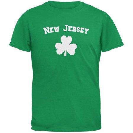 St. Patrick's Day - New Jersey Shamrock Irish Green Adult T-Shirt - Shamrock Skirt