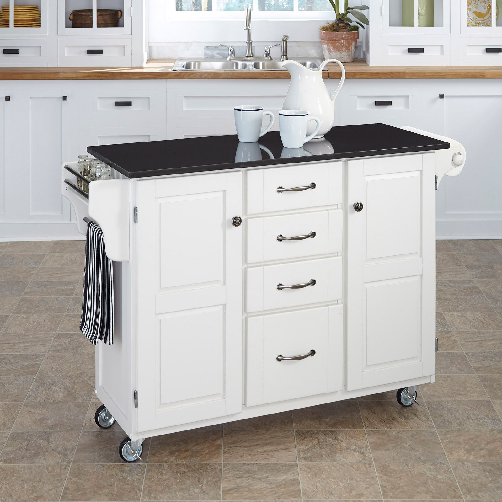 Home Styles Kitchen Cart White Black Granite Top