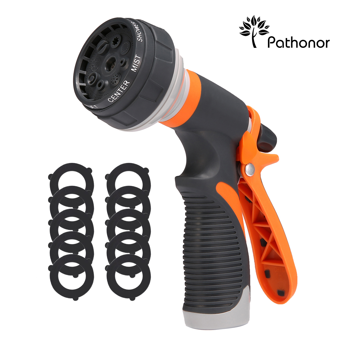 PATHONOR Garden Hose Nozzle, Garden Hose Spray Nozzle Heave Duty 8 Pattern Adjustable Multifunctional Watering Nozzle For Watering Plants, Car Washing, Shower Pets