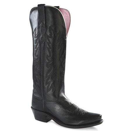Old West Black Womens All Leather Fancy Stitch 14in Snip Toe Cowboy Boots 5 (Famous Black Cowboys Of The Old West)