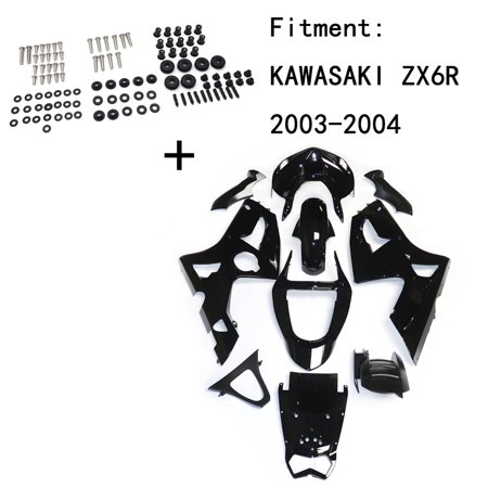 HTTMT Replacement of Gloss Black ABS Body work Fairing Kit w/ screw For KAWASAKI ZX6R 2003-2004 INJECTION