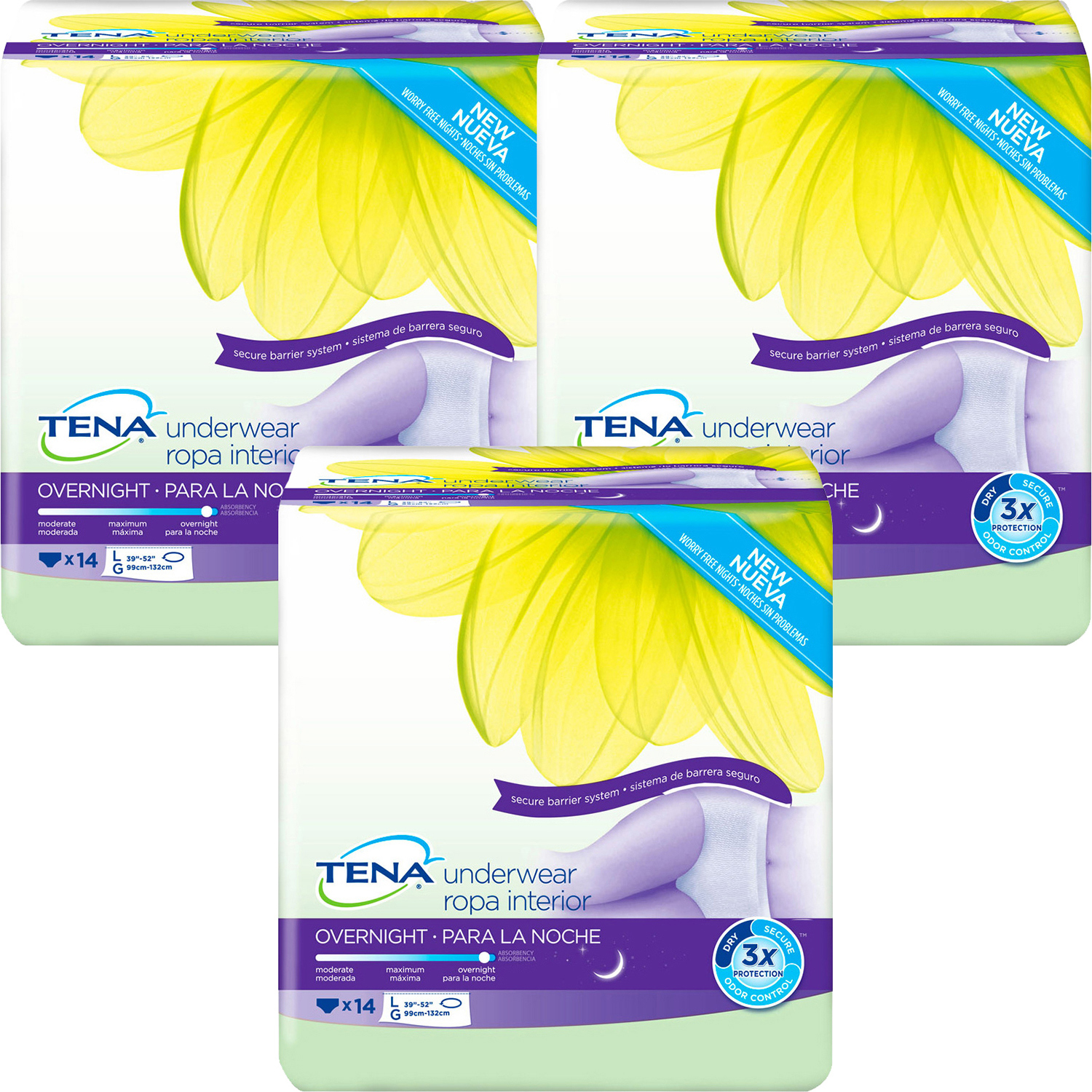 Tena Incontinence Underwear, Overnight, Large, 14 Ct