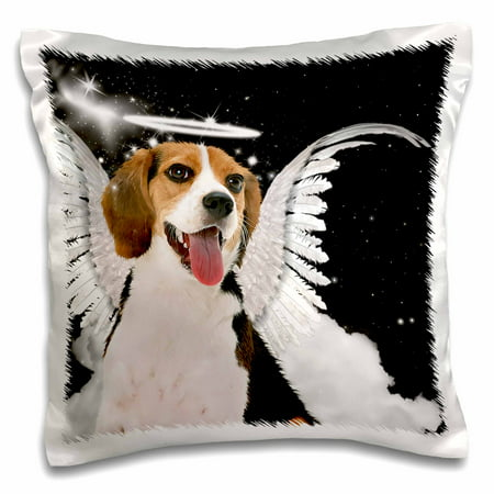 3dRose Beagle Angel Dog with clouds, a cute Halo and Angel Wings, Pillow Case, 16 by 16-inch](Halos And Wings)