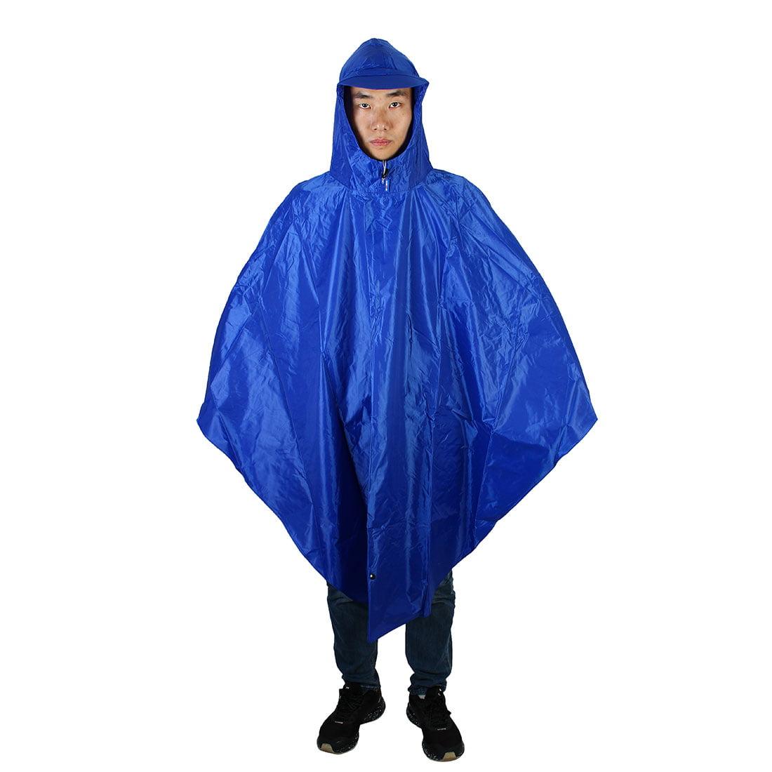 Motorcycle Riding Hooded Rainwear Bike Cycling Raincoat Rain Poncho Royal Blue by