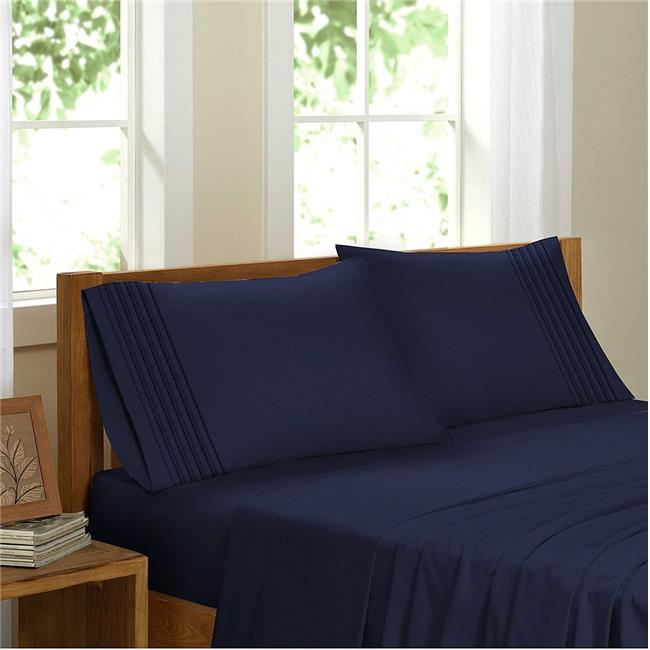 GDC-GameDevCo 37242 Egyptian Comfort Sateen Sheet Set, Navy Blue - Twin