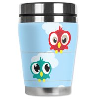 Mugzie brand 12-Ounce Travel Mug with Insulated Wetsuit Cover - Birds on a Line