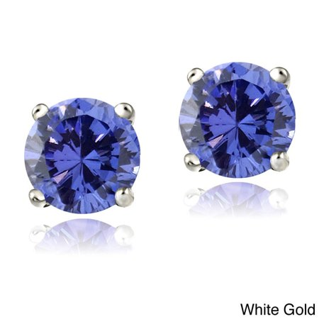 14k White or Yellow Gold 1ct Tanzanite Round 5mm Stud Earrings