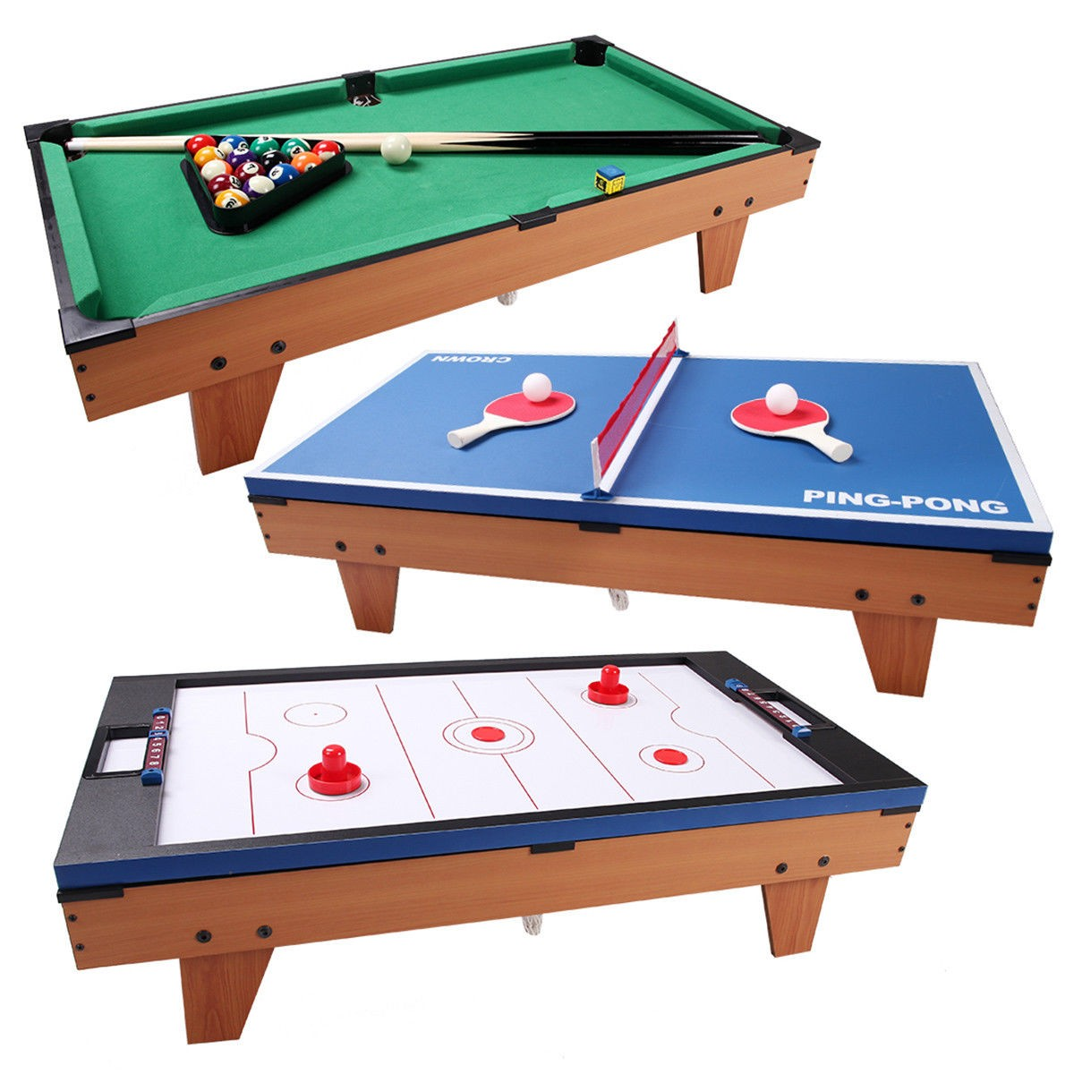 3 in 1 Air Hockey Ping Pong Billiard Multifunctional Table by