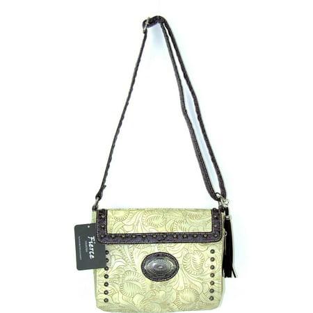 Fierce TPC-965 BO Ladies Faux Leather Tooled Croco Crossbody Bag, Bone