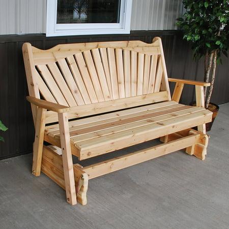 A & L Furniture Western Red Cedar Fanback Outdoor Loveseat Glider ()