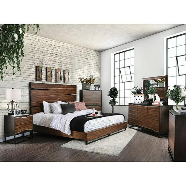 Contemporary Dark Walnut Finish Bedroom Furniture 4piece Queen Size Set Walmart Com Walmart Com