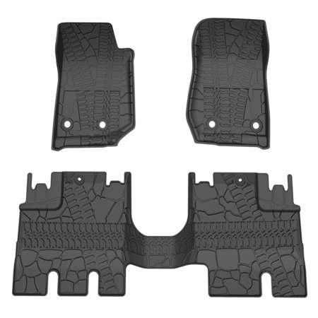 For 2014-2019 Jeep Wrangler JK 4 Door Unlimited Slush Floor Mats All Weather,Includes 1st & 2nd Front Row and Rear Floor Liner Set