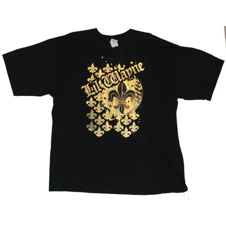 Lil Wayne YMCMB Mens T-Shirt  - Foil Style Fleur De Lis Image on (Lil Wayne Style)