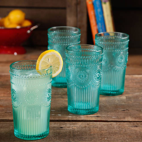 The Pioneer Woman Adeline 16-Ounce Emboss Glass Tumblers, Set of 4