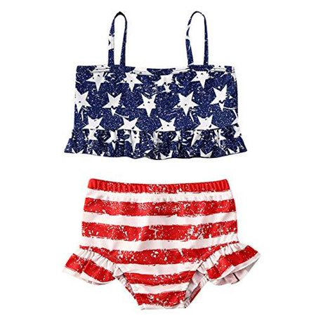 Styles I Love Toddler Little Girls Stars Stripes US Flag Design Flounce Bikini Swimsuit Holiday Bathing Suit Beach Swimwear