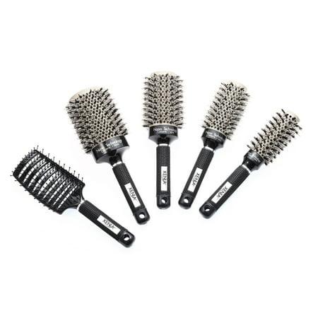 Xenia Paris 5 Pcs Ceramic Ionic Professional Hair Brush Bundle