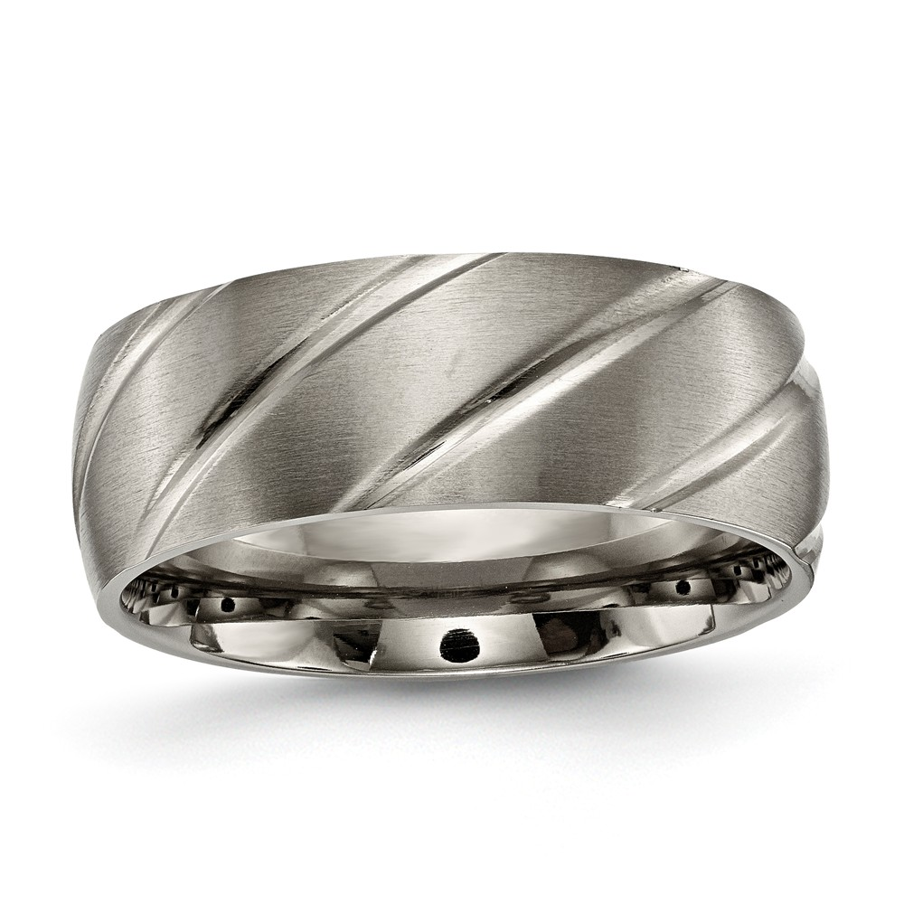 IceCarats Titanium Swirl Design 8mm Wedding Ring Band Size 11.00  Fancy  Fashion Jewelry Gift Set For Women Heart