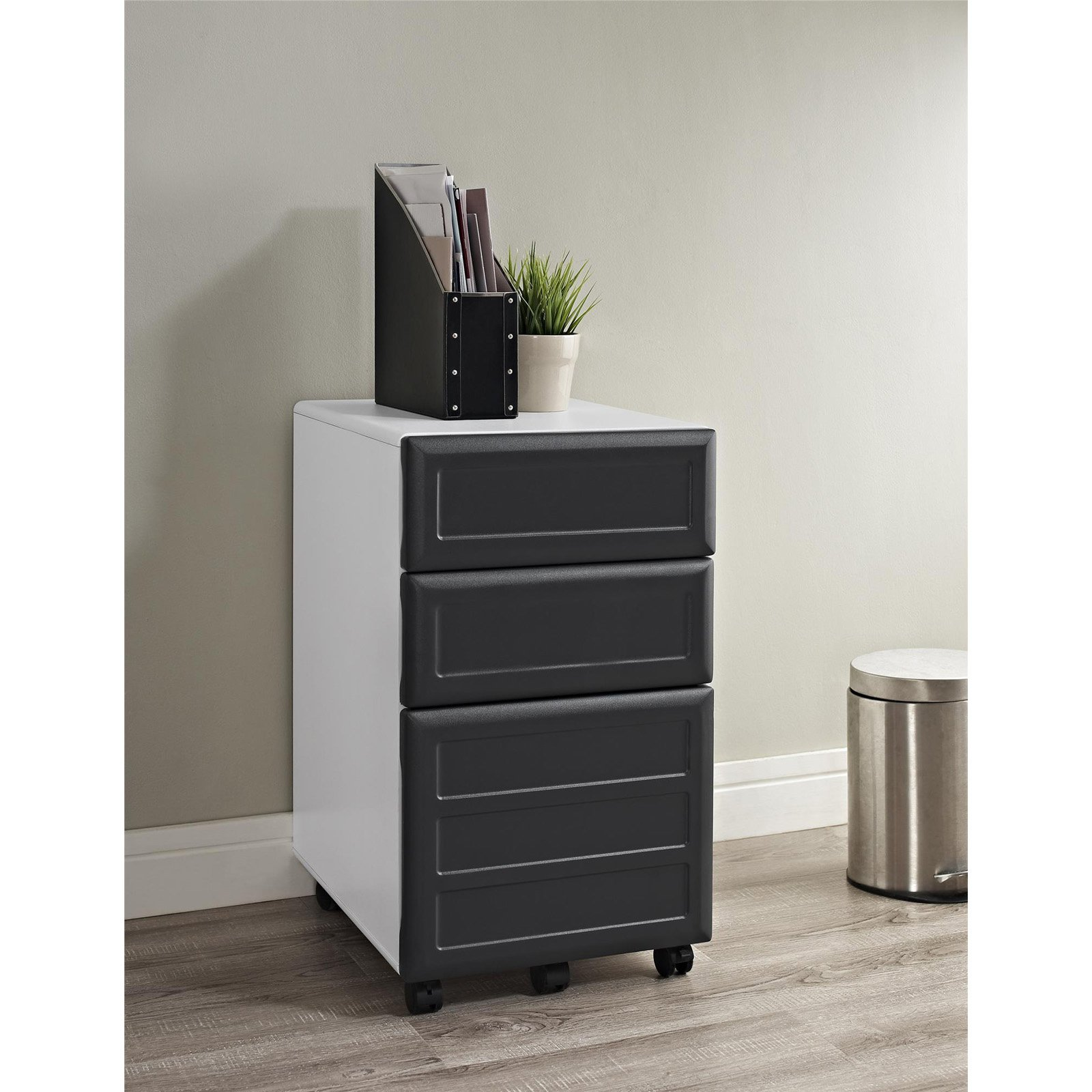 Ameriwood Home Pursuit Mobile File Cabinet, White/Gray