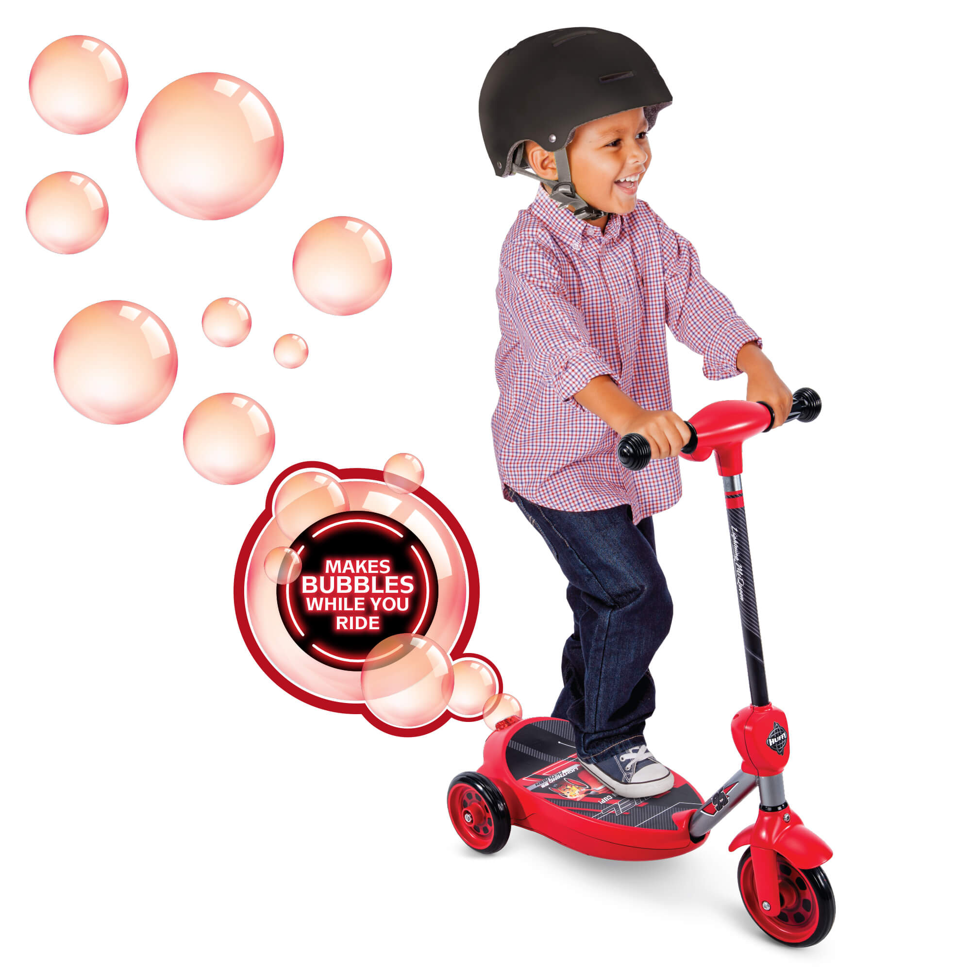 Disney Pixar Cars 3 Boys' 6 Volt Battery-Powered Electric Bubble Scooter by Huffy