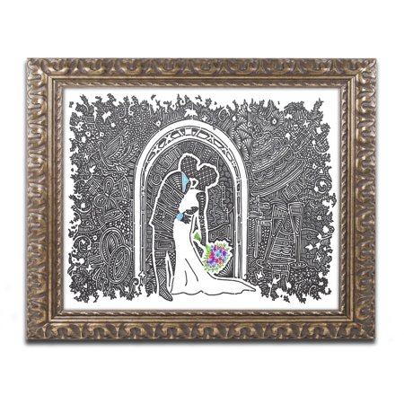 Trademark Fine Art 'Wedding Kiss' Canvas Art by Viz Art Ink, Gold Ornate Frame