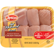 Tyson All Natural* Boneless Skinless Chicken Thighs, 1.8 lb