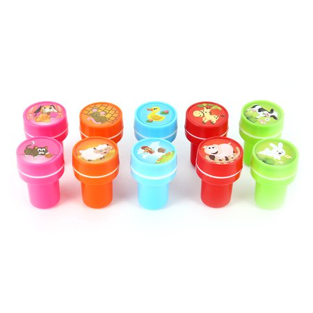 10 PCs Assorted Farm Animals Stamps Kids Party Favors Event Supplies for Birthday Party Gift,Rubber stamp - Farm Animals Party Supplies