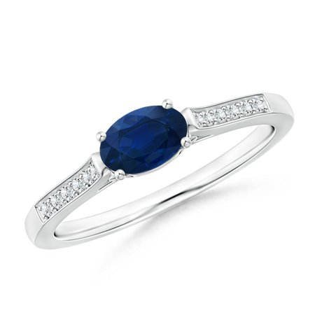 September Birthstone Ring - East-West Oval Blue Sapphire Solitaire Ring with Diamonds in Platinum (6x4mm Blue Sapphire) - SR0737SD-PT-AA-6x4-3