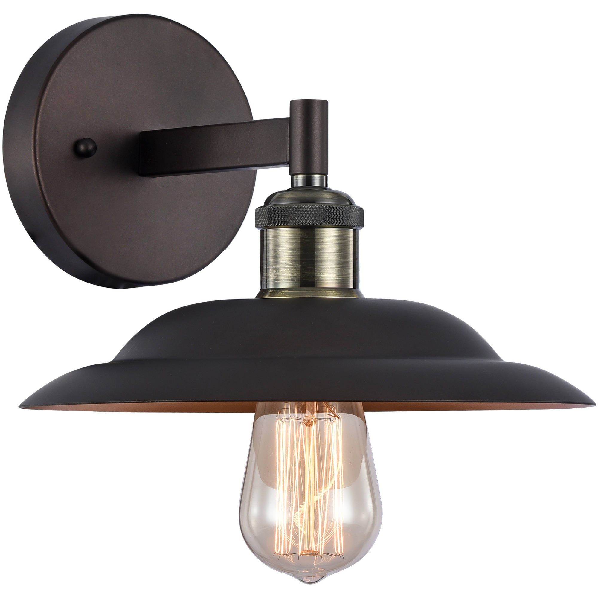 """Chloe Lighting Ironclad Industrial-Style 1-Light Rubbed Bronze Wall Sconce, 10"""" Wide by Chloe Lighting"""