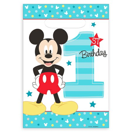 Disney Mickey Mouse Baby Boys 1st Birthday Party Loot Bag 16 Count Set - Baby Mickey First Birthday