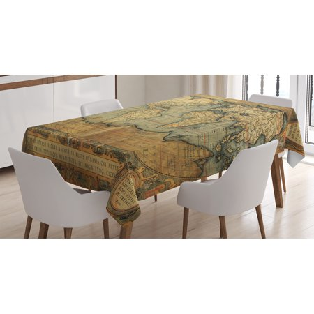 World Map Tablecloth, Ancient Old Chart Vintage Reproduction of 16th Century Atlas Print, Rectangular Table Cover for Dining Room Kitchen, 60 X 90 Inches, Sand Brown Slate Blue, by Ambesonne