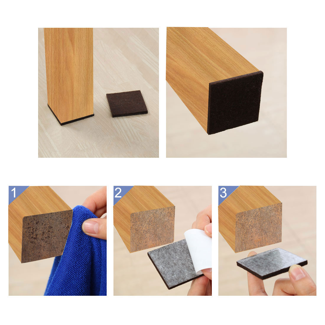 "Felt Furniture Pads Square 7/8"" Self Adhesive Anti-scratch Floor Protector 70pcs - image 6 de 7"