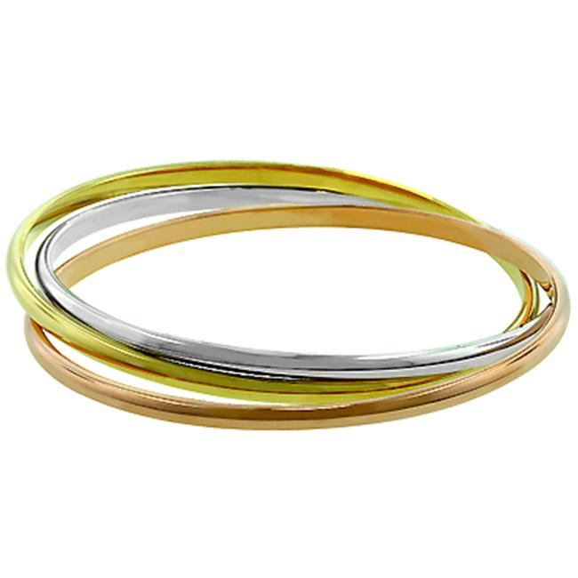 Kate Bissett BC00016T-V00 14k Gold and Genuine Rhodium Plated Interwoven Triple Hoop Bangle Bracelet in Tritone